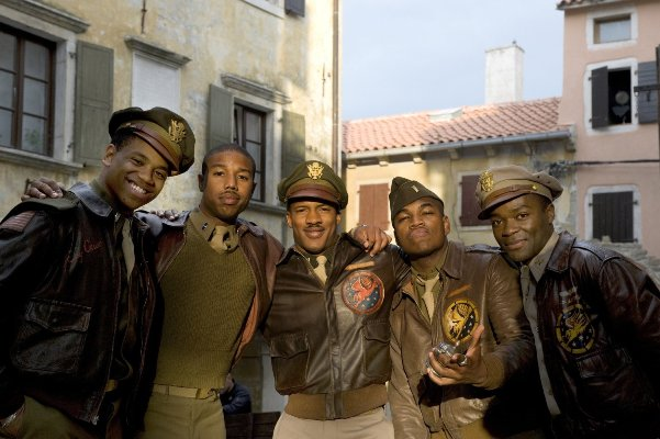 "Nate Parker, Michael B. Jordan, Tristan Mack Wilds, Ne-Yo and David Oyelowo in ""Red Tails."""