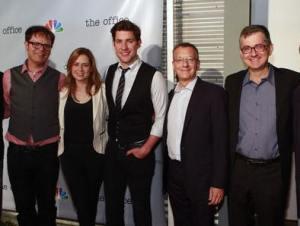 """The Office"" cast members and crew celebrating the final episode of the series. (l to r: Rainn Wilson, Jenna Fischer, John Krasinski, Howard Klein and Greg Daniels.)"