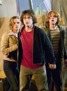 Emma Watson, Daniel Radcliffe and Rupert Grint in Harry Potter and the Goblet of Fire.