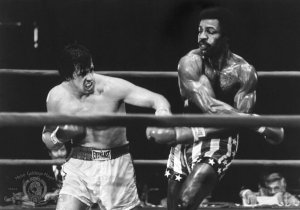 "Sylvester Stallone and Carl Weathers star in ""Rocky."""