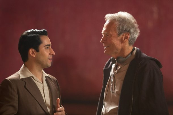 """John Lloyd Young and Clint Eastwood on the set of """"Jersey Boys."""" Photo by Keith Bernstein - © 2013 Warner Bros. Entertainment Inc. and RatPac Entertainment."""