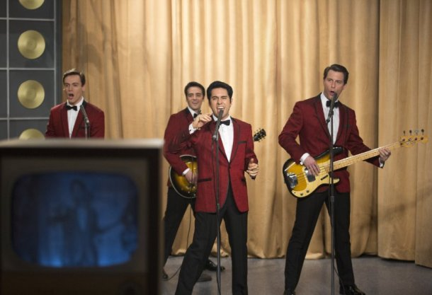 """John Lloyd Young, Vincent Piazza, Erich Bergen and Michael Lomenda in """"Jersey Boys.""""  Photo by Keith Bernstein - © 2013 Warner Bros. Entertainment Inc. and RatPac Entertainment."""