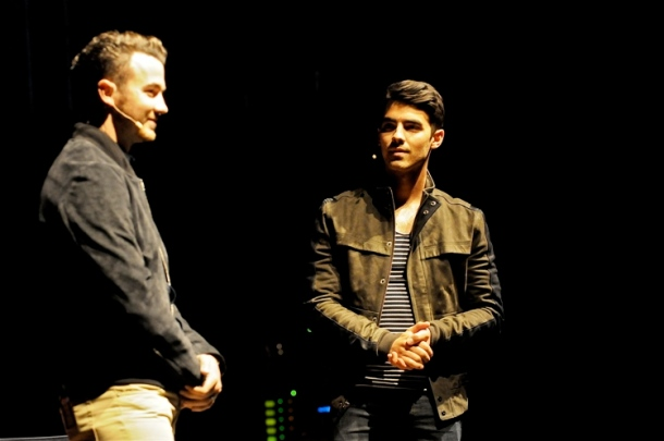 "Kevin and Joe Jonas doing their ""interactive spoken word"" show at the Keswick Theater, Glenside, PA on June 7, 2014.  Photo copyright 2014 Jim Rinaldi."