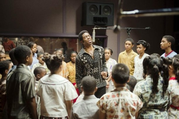 "Chadwick Boseman stars as James Brown in ""Get On Up."""