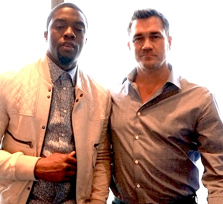 "Chadwick Boseman and Tate Taylor at the New York Press Conference for ""Get On Up."" Photo by Brad Balfour copyright 2014."