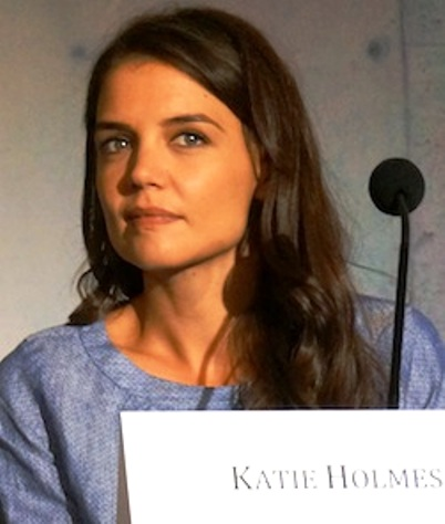 """Katie Holmes at the New York press conference for """"The Giver.""""  Photo copyright 2014 Brad Balfour."""