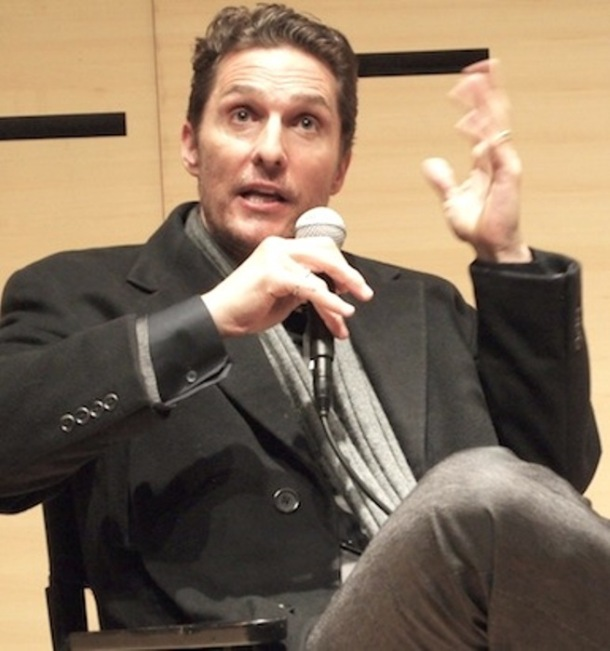 "Matthew McConaughey discussing ""Dallas Buyers Club."" Photo copyright 2014 Brad Balfour."