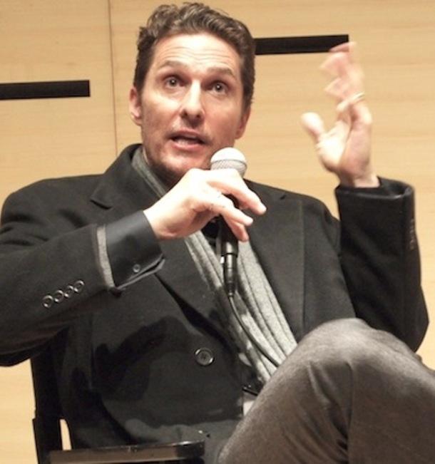 "Matthew McConaughey discussing ""Dallas Buyers Club."" Photo copyright 2014 Brad Balfour."