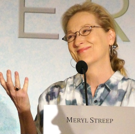 """Meryl Streep at the New York press conference for """"The Giver.""""  Photo copyright 2014 Brad Balfour."""