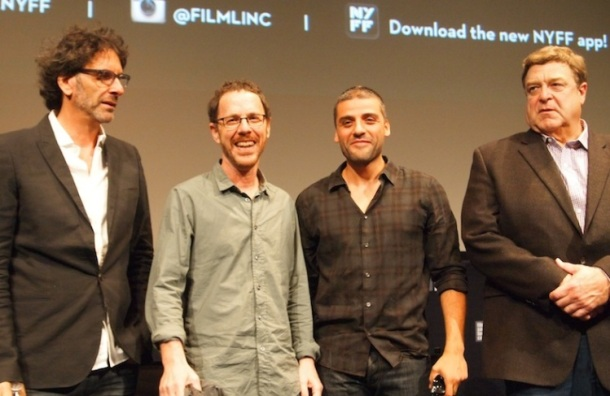 Joel and Ethan Coen with Oscar Isaac and John Goodman at the NYFF press conference of 'Inside Llewyn Davis.'