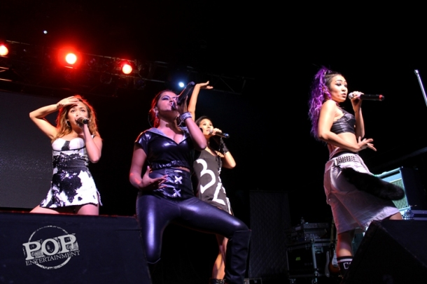 """Blush members Angeli Flores, Alisha Budhrani, Victoria Chan and Natsuko """"Nacho"""" Danjo onstage at the Theater of Living Arts in Philadelphia.  Picture copyright 2014 by Maggie Mitchell."""