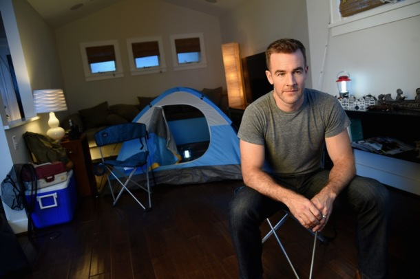 "James Van Der Beek on the set of his video ""Just the Flu Facts."""