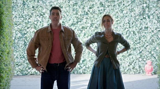 "Adam Carolla and Diane Farr star in ""Road Hard."""
