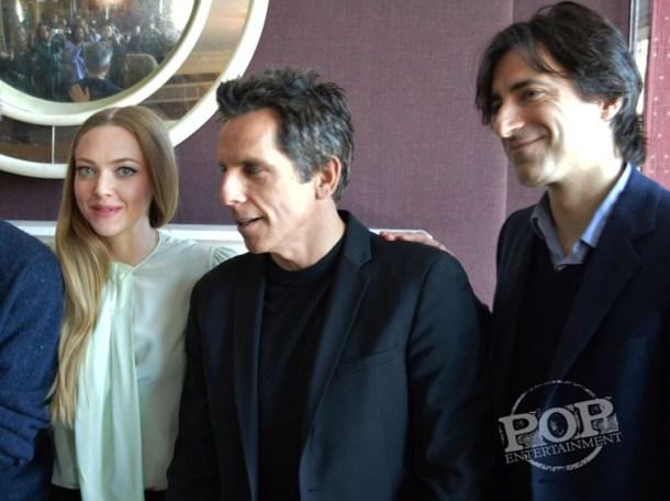 "Amanda Seyfried, Ben Stiller & Noah Baumbach at the NY Press Day for ""While We're Young."""