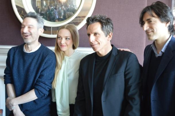 "Adam Horovitz, Amanda Seyfried, Ben Stiller & Noah Baumbach at the NY Press Day for ""While We're Young."""