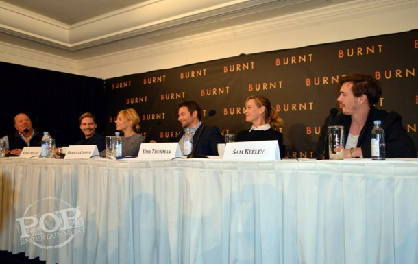 Mario Batali, Daniel Brühl, Sienna Miller, Bradley Cooper, Uma Thurman and Sam Keeley at the New York press conference for Burnt. Photo ©2015 Jay S. Jacobs.  All rights reserved.