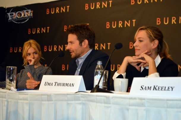 Sienna Miller, Bradley Cooper and Uma Thurman at the New York press conference for Burnt. Photo ©2015 Jay S. Jacobs.  All rights reserved.