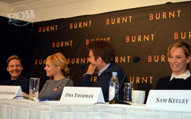 Daniel Brühl, Sienna Miller, Bradley Cooper and Uma Thurman at the New York press conference for Burnt. Photo ©2015 Jay S. Jacobs and Brad Balfour.  All rights reserved.