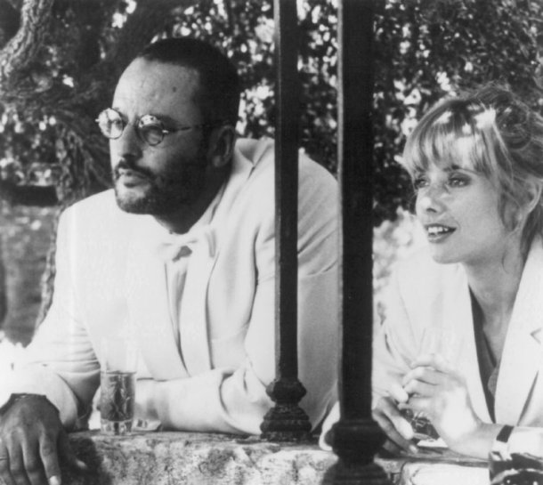 "Jean Reno and Rosanna Arquette in ""The Big Blue."""