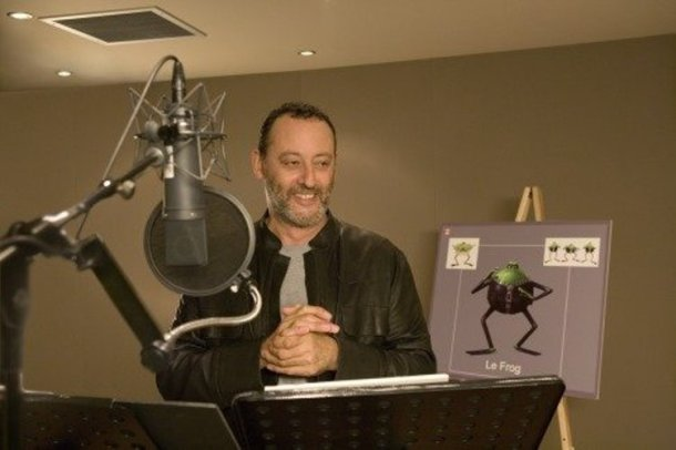 "Jean Reno making ""Flushed Away."""