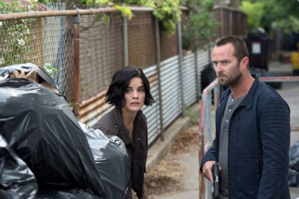 "BLINDSPOT -- ""Eight Slim Grins"" Episode 103 -- Pictured: (l-r) Jaimie Alexander as Jane Doe, Sullivan Stapleton as Kurt Weller -- (Photo by: JoJo Whilden/NBC)"