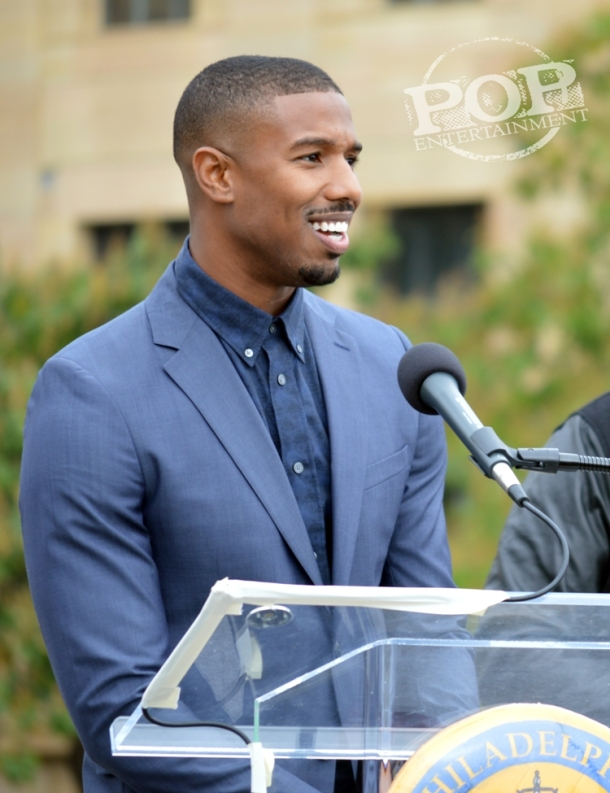 "Michael B. Jordan at the Philadelphia press conference for ""Creed"" on the steps of the Philadelphia Museum of Art. Photo copyright 2015 Deborah Wagner."