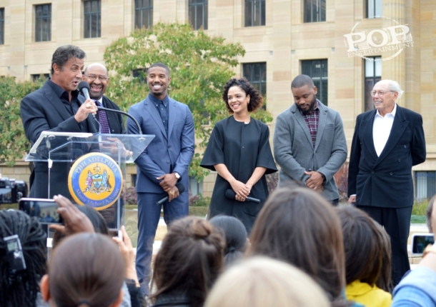 "Sylvester Stallone, Mayor Michael Nutter, Michael B. Jordan, Tessa Thompson, Ryan Coogler and Irwin Winkler at the Philadelphia press conference for ""Creed"" on the steps of the Philadelphia Museum of Art. Photo copyright 2015 Deborah Wagner."