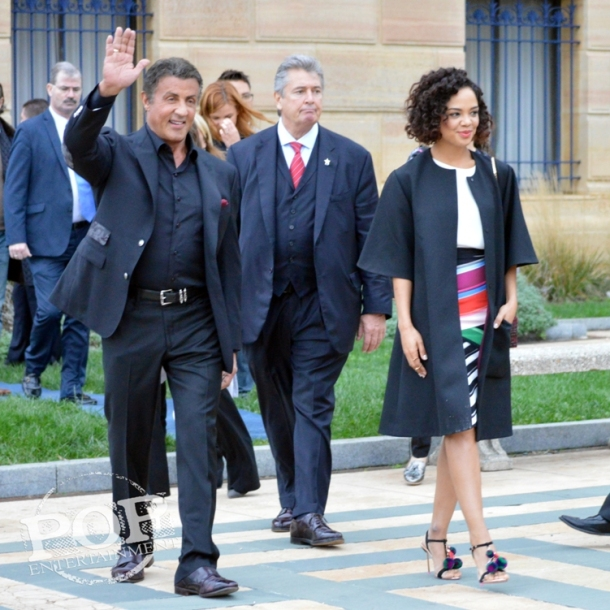 "Sylvester Stallone and Tessa Thompson at the Philadelphia press conference for ""Creed"" on the steps of the Philadelphia Museum of Art. Photo copyright 2015 Deborah Wagner."