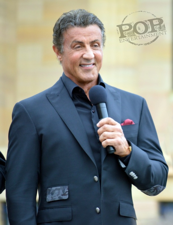 "Sylvester Stallone at the Philadelphia press conference for ""Creed"" on the steps of the Philadelphia Museum of Art. Photo copyright 2015 Deborah Wagner."