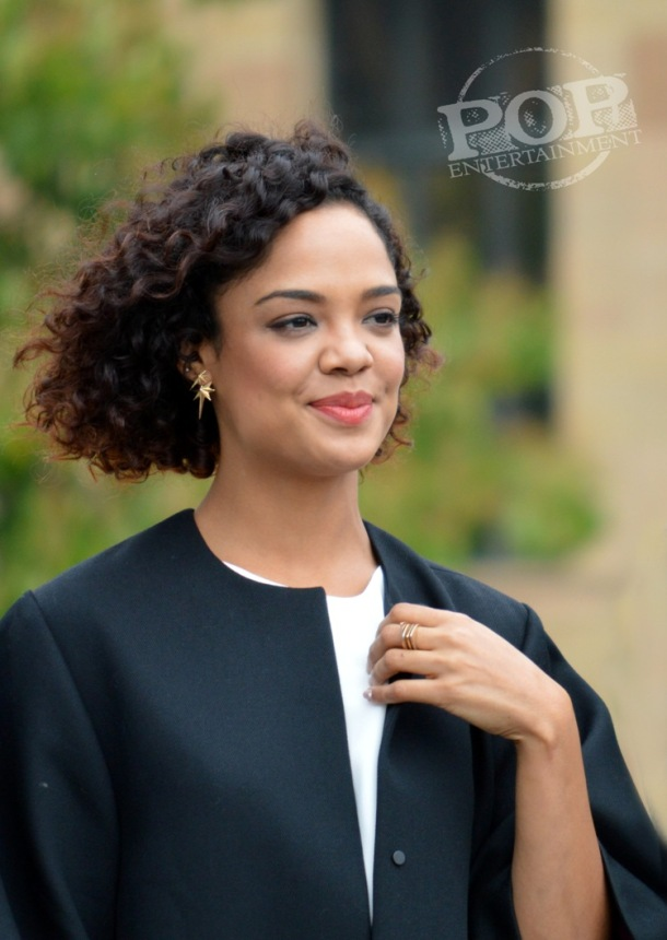 "Tessa Thompson at the Philadelphia press conference for ""Creed"" on the steps of the Philadelphia Museum of Art. Photo copyright 2015 Deborah Wagner."