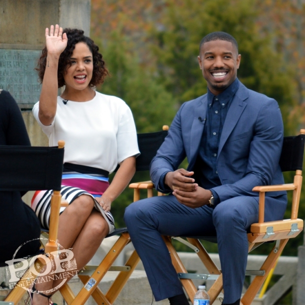 "Tessa Thompson and  Michael B. Jordan at the Philadelphia press conference for ""Creed"" on the steps of the Philadelphia Museum of Art. Photo copyright 2015 Deborah Wagner."