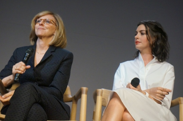 Nancy Meyers and Anne Hathaway at the New York Press Day for THE INTERN.