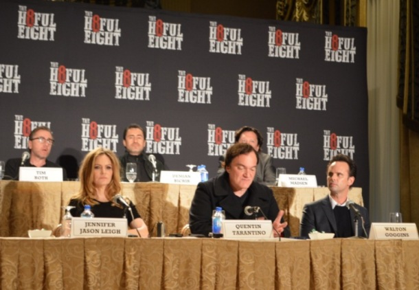 "Tim Roth, Jennifer Jason Leigh, Demian Bichir, Kurt Russell, Quentin Tarantino, Michael Madsen and Walton Goggins at the New York Press Conference for ""The Hateful Eight."" Photo copyright 2015 Jay S. Jacobs."