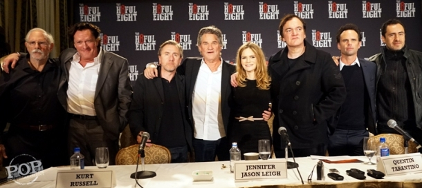 "Bruce Dern, Michal Madsen, Tim Roth, Kurt Russell, Jennifer Jason Leigh, Quentin Tarantino, Walton Goggins and Demian Bichir at the New York Press Conference for ""The Hateful Eight."" Photo copyright 2015 Brad Balfour."