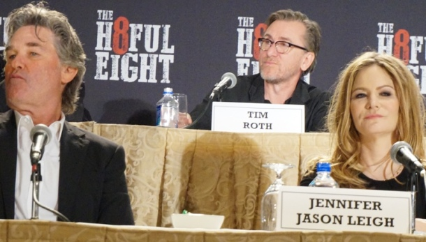 "Kurt Russell, Tim Roth and Jennifer Jason Leigh at the New York Press Conference for ""The Hateful Eight."" Photo copyright 2015 Brad Balfour."
