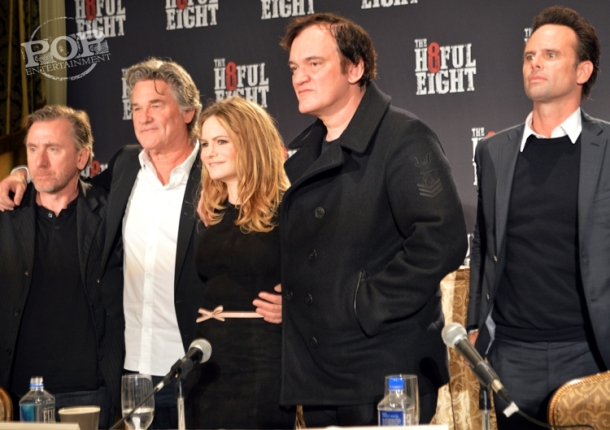 "Tim Roth, Kurt Russell, Jennifer Jason Leigh, Quentin Tarantino, Walton Goggins and Demian Bichir at the New York Press Conference for ""The Hateful Eight."" Photo copyright 2015 Jay S. Jacobs."