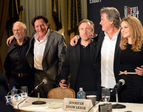"Bruce Dern, Michael Madsen, Tim Roth, Kurt Russell and Jennifer Jason Leigh at the New York Press Conference for ""The Hateful Eight."" Photo copyright 2015 Jay S. Jacobs."