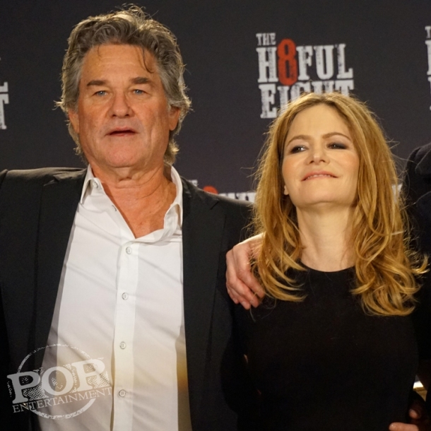 "Kurt Russell and Jennifer Jason Leigh at the New York Press Conference for ""The Hateful Eight."" Photo copyright 2015 Brad Balfour."