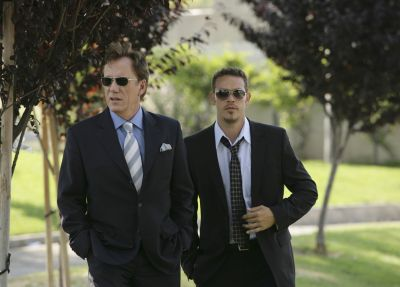 James Woods and Kevin Alejandro in SHARK.