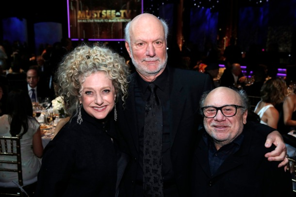MUST SEE TV: AN ALL-STAR TRIBUTE TO JAMES BURROWS -- Pictured: (l-r) Carol Kane, James Burrows, Danny DeVito -- (Photo by: Chris Haston/NBC)