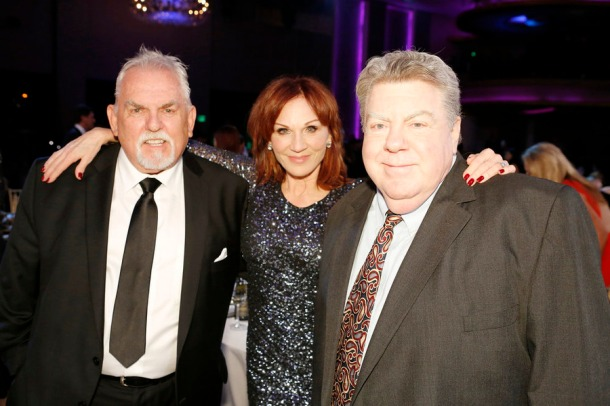 MUST SEE TV: AN ALL-STAR TRIBUTE TO JAMES BURROWS -- Pictured: (l-r) John Ratzenberger, Marilu Henner, George Wendt -- (Photo by: Trae Patton/NBC)
