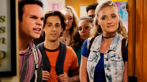 """THE GOLDBERGS - """"I Caddyshacked the Pool"""" - Adam comes up with an excuse to not swim in class because he is embarrassed of his changing body, but Coach Mellor says he will fail him unless he participates. So he comes up with a plan that could affect his friendship with Dave Kim. Meanwhile, Erica struggles to find an identity, so she creates a club at school, but Barry ruins the experience for her when he joins the club as well, on """"The Goldbergs,"""" WEDNESDAY, OCTOBER 14 (8:30-9:00 p.m., ET) on the ABC Television Network. (ABC/Michael Desmond) TROY GENTILE, MATT BUSH, AJ MICHALKA"""