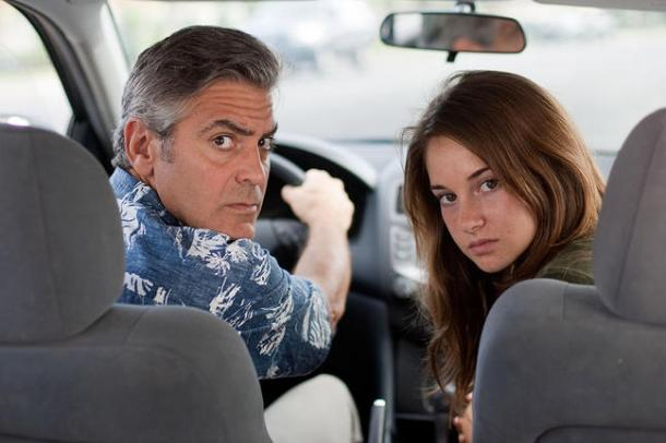 George Clooney and Shailene Woodley in The Descendants.