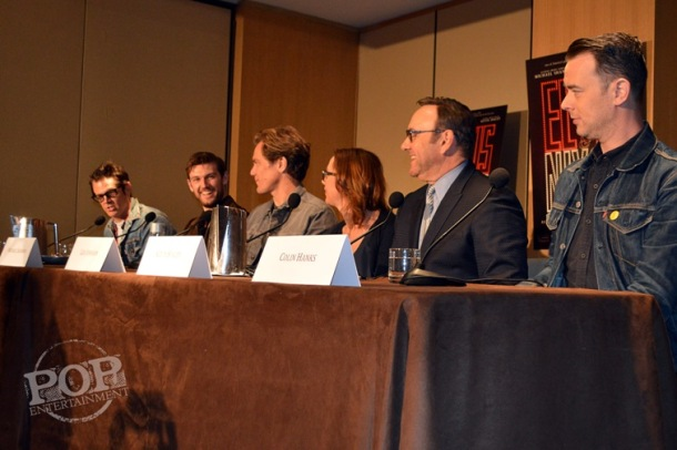 """Johnny Knoxville, Alex Pettyfer, Michael Shannon, Liza Johnson, Kevin Spacey and Colin Hanks at the New York Press Conference for """"Elvis & Nixon"""" at the Conrad New York April 18, 2016. Photo copyright 2016 Jay S. Jacobs."""