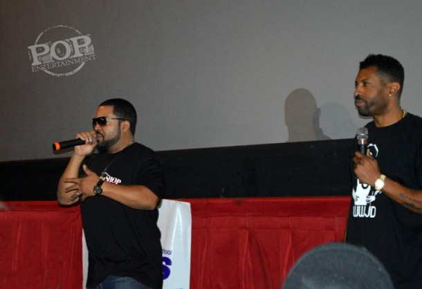 "Ice Cube and Deon Cole at the ""Barbershop: The Next Cut"" premiere at the Pearl Theater in Philadelphia."