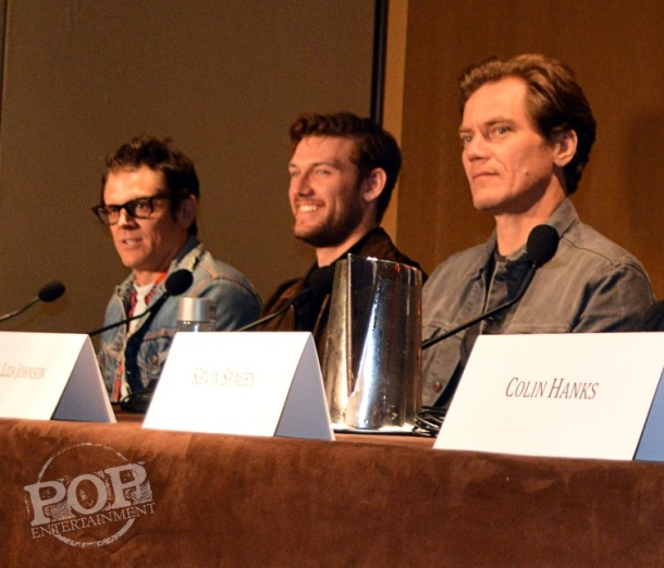 """Johnny Knoxville, Alex Pettyfer and Michael Shannon at the New York Press Conference for """"Elvis & Nixon"""" at the Conrad New York April 18, 2016. Photo copyright 2016 Jay S. Jacobs."""