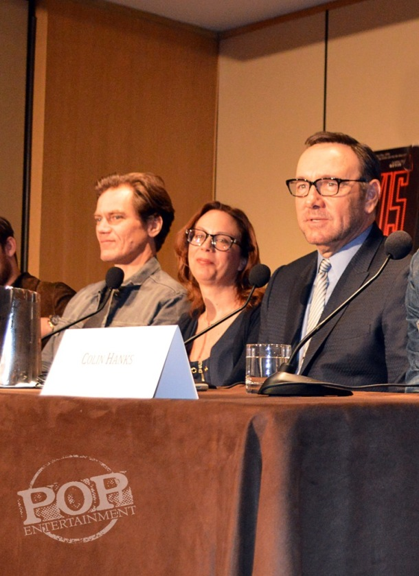 """Michael Shannon, Liza Johnson and Kevin Spacey at the New York Press Conference for """"Elvis & Nixon"""" at the Conrad New York April 18, 2016. Photo copyright 2016 Jay S. Jacobs."""