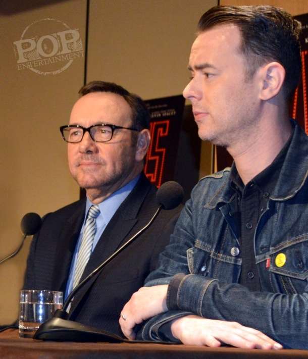"""Kevin Spacey and Colin Hanks at the New York Press Conference for """"Elvis & Nixon"""" at the Conrad New York April 18, 2016. Photo copyright 2016 Jay S. Jacobs."""
