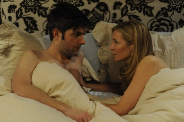 "Adam Scott and Jennifer Westfeldt star in ""Friends With Kids."""