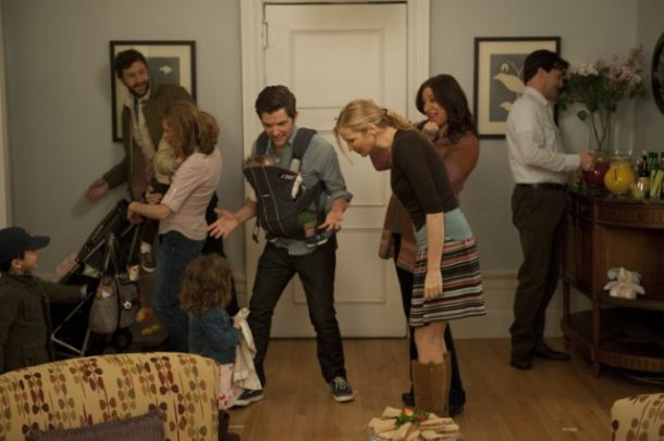 "Chris O'Dowd, Kristin Wiig, Adam Scott, Jennifer Westfeldt, Maya Rudolph and Jon Hamm star in ""Friends With Kids."""
